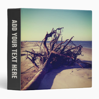 Uprooted Tree On The Beach 3 Ring Binder