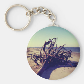 Uprooted Tree On The Beach Basic Round Button Keychain