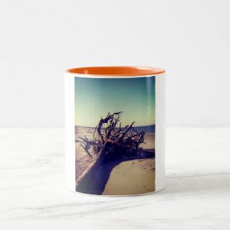 Uprooted Tree On The Beach Two-Tone Coffee Mug