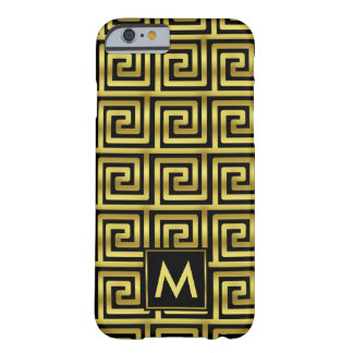 Upscale Black Faux Gold Monogram Greek Key Classy Barely There iPhone 6 Case