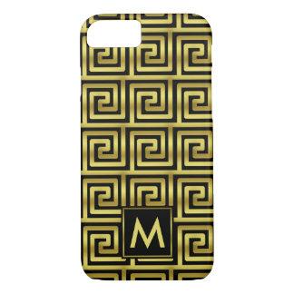 Upscale Black Faux Gold Monogram Greek Key Classy iPhone 8/7 Case