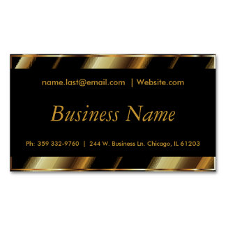 Upscale Black & Gold Diagonal Stripes Magnetic Business Card