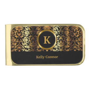 Diy money clips credit card holders zazzle upscale gold black floral damask gold finish money clip solutioingenieria Image collections