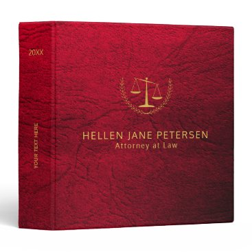 Lawyer Themed Upscale lawyer office red leather look and gold binder