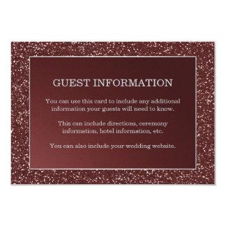 Upscale Marsala Glitter Look Wedding Guest Insert Card