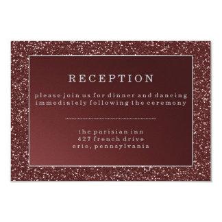 Upscale Marsala Glitter Look Wedding Reception Card