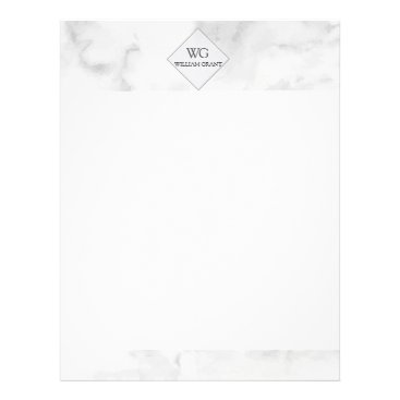 Professional Business Upscale Minimalist Chic White Marble Monogrammed Letterhead