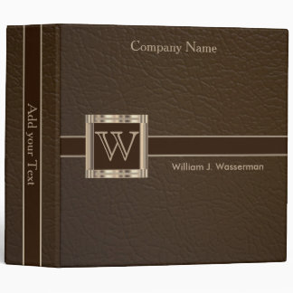 "Upscale Monogram Chocolate Leather 2"" Design 3 Ring Binder"
