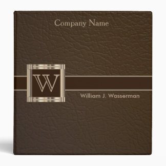 Upscale Monogram Chocolate Leather 3 Ring Binder