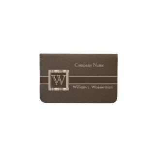 Upscale Monogram Chocolate Leather Business Card Holder