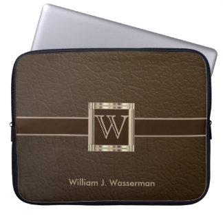 Upscale Monogram Chocolate Leather Laptop Sleeve