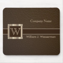 Upscale Monogram Chocolate Leather Mouse Pad