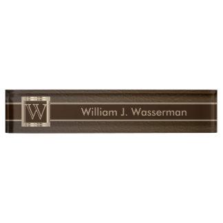 Upscale Monogram Chocolate Leather Name Plate