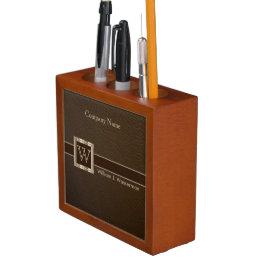 Upscale Monogram Chocolate Leather Pencil Holder