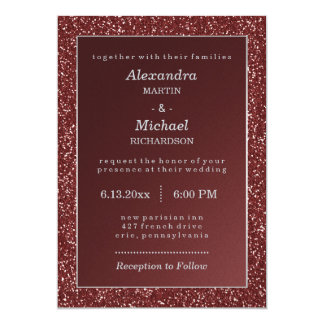 Upscale Sparkle Marsala and Faux Glitter Wedding Card