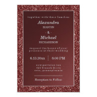 Upscale Sparkle Marsala and Glitter Look Wedding 5x7 Paper Invitation Card
