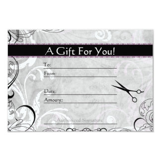Upscale Swirls and Fluers Salon Gift Card Announcements