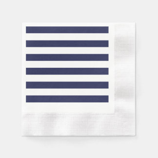 Upscale Venetian Venice Blue White Stripe Pattern Paper Napkin