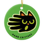 Hand shaped Upset Cat ornament