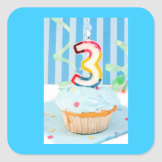 Upsherin Decorative Sticker - Blue 3 Cupcake