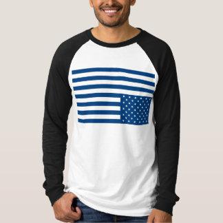 Upside Down American Flag - Blue T-Shirt
