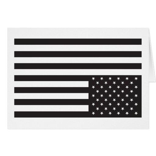 Upside Down American Flag in Black. Card