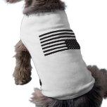 Upside Down American Flag in Black. Doggie T Shirt