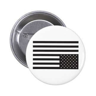 Upside Down American Flag in Black. Pinback Button