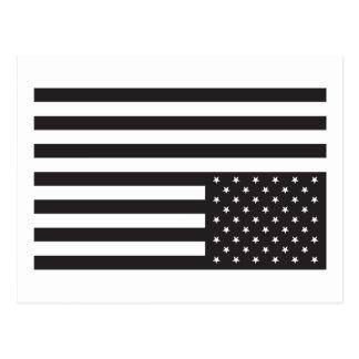 Upside Down American Flag in Black. Postcard