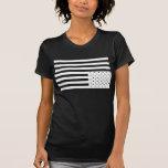 Upside Down American Flag in Black. Shirts