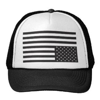 Upside Down American Flag in Black. Trucker Hat