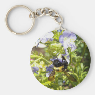 Upside Down Bumble Bee Basic Round Button Keychain