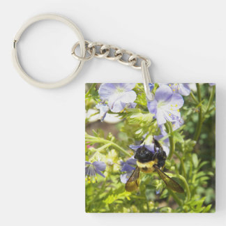 Upside Down Bumble Bee Single-Sided Square Acrylic Keychain