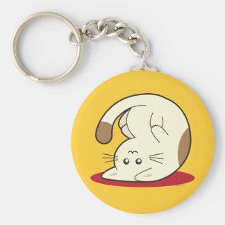 Upside Down Cat Basic Round Button Keychain