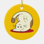 Upside Down Cat Ceramic Ornament