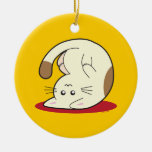 Upside Down Cat Double-Sided Ceramic Round Christmas Ornament