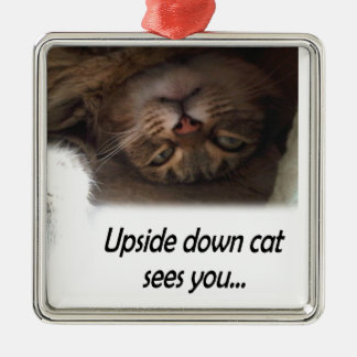 Upside down cat sees you square metal christmas ornament