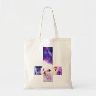 Upside Down Cross Kitten Tote Canvas Bags