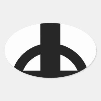 Upside Down Cross Oval Sticker