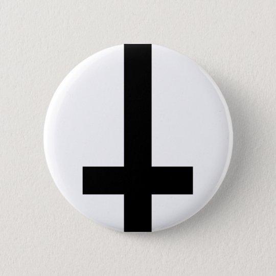 Upside Down Cross Pinback Button