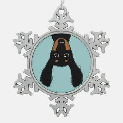 Upside Down Dachshund Christmas Snowflake Pewter Christmas Ornament
