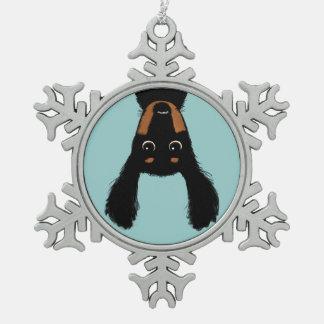 Upside Down Dachshund Christmas Snowflake Pewter Christmas Ornament