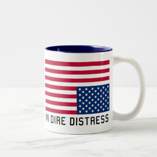 Upside Down Flag  In Distress Two-Tone Coffee Mug