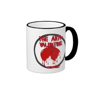 Upside Down Heart w/Puddle (Anti-Valentine) Ringer Coffee Mug