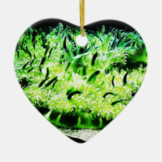 Upside Down Jellyfish / Cassiopea Double-Sided Heart Ceramic Christmas Ornament