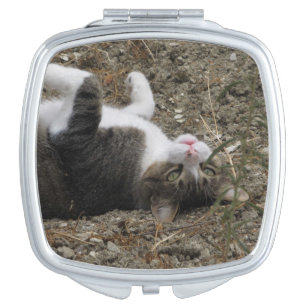 Upside Down Kitty Compact Mirror