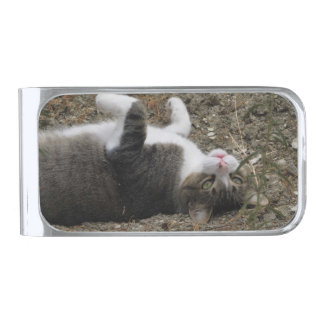 Upside Down Kitty Silver Plated Money Clip