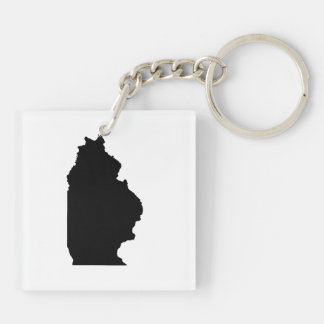 Upside Down Map of Illinois Keychain