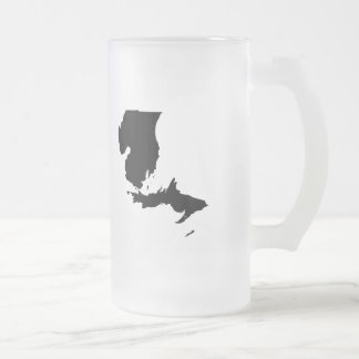 Upside Down Map of Michigan Frosted Glass Beer Mug