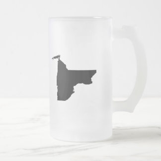 Upside Down Map of New York Frosted Glass Beer Mug